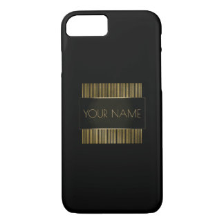 Black Gold Conceptual Minimal Name Geometry iPhone 8/7 Case