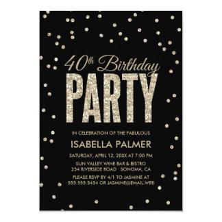 Black & Gold Confetti 40th Birthday Party 13 Cm X 18 Cm Invitation Card