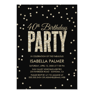 Black & Gold Confetti 40th Birthday Party Card