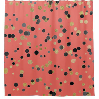 Black Gold Confetti Big Dots Coral Pastel Urban Shower Curtain