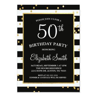 Black & Gold Confetti Birthday Invitation