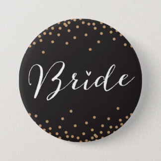 Black & Gold Confetti Dot Bride Button