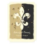 Black Gold Confetti Fleur de Lis event Invitation