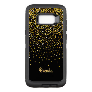 Black Gold Confetti Monogram. OtterBox Defender Samsung Galaxy S8+ Case