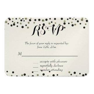 Black Gold Confetti RSVP 9 Cm X 13 Cm Invitation Card