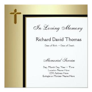 Black Gold Cross In Loving Memory Memorial 13 Cm X 13 Cm Square Invitation Card