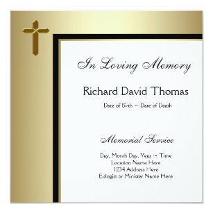 Do it yourself funeral invitations announcements zazzle black gold cross in loving memory memorial card solutioingenieria Image collections