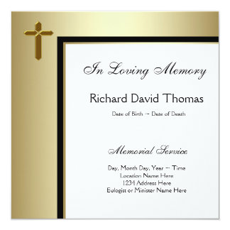 Black Gold Cross In Loving Memory Memorial Card