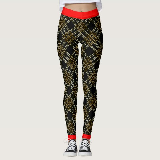 Black Gold Cross Stripes Pattern Leggings