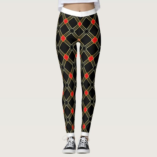 Black Gold Cross Stripes Pattern Leggings