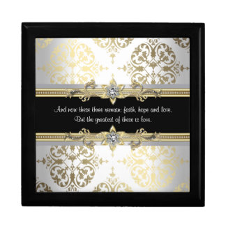 Black Gold Damask Bible Verse Gift Box