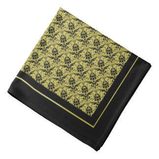 Black Gold Damask Border Bandana