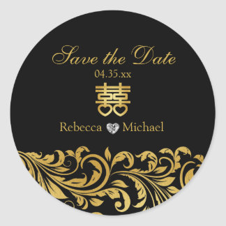 Black & Gold Damask, Chinese Double Happiness Round Sticker