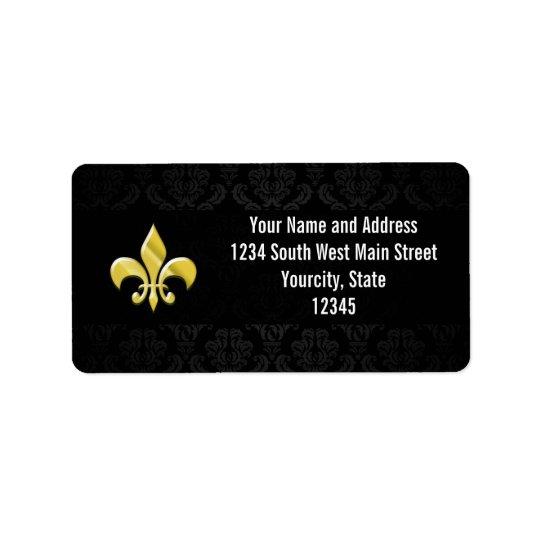 Black/Gold Damask Fleur de Lis Address Label
