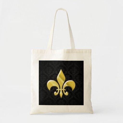 Black/Gold Damask Fleur de Lis Tote Bag