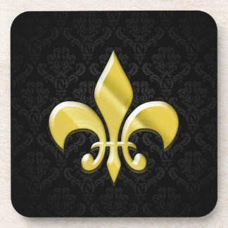 Black/Gold Damask Fleur de Lis Beverage Coaster