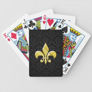 Black/Gold Damask Fleur de Lis Bicycle Playing Cards