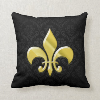 Black/Gold Damask Fleur de Lis Cushion