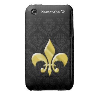 Black/Gold Damask Fleur de Lis iPhone 3 Case-Mate Cases