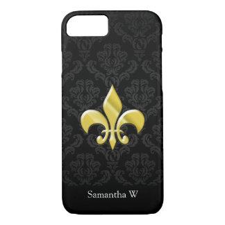 Black/Gold Damask Fleur de Lis iPhone 7 Case