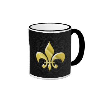 Black Gold Damask Fleur de Lis Coffee Mug