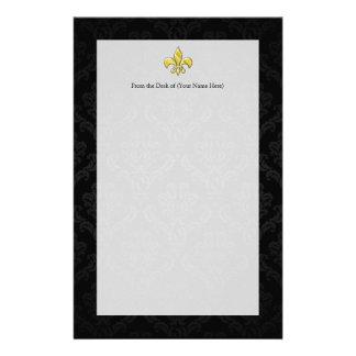 Black/Gold Damask Fleur de Lis Stationery