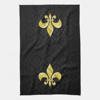 Black/Gold Damask Fleur de Lis Tea Towel