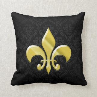 Black/Gold Damask Fleur de Lis Throw Cushions