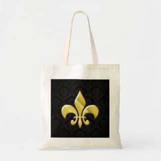 Black/Gold Damask Fleur de Lis Tote Bag