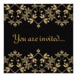 Black gold damask royal Wedding Invitations 13 Cm X 13 Cm Square Invitation Card
