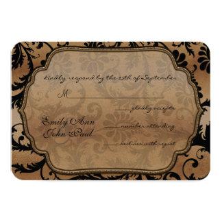 Black & Gold Damask Swirls Wedding RSVP Card