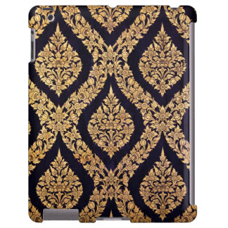 Black Gold Damask Traditional Contemporary Print
