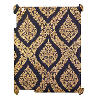 Black Gold Damask Traditional Contemporary Print iPad Case