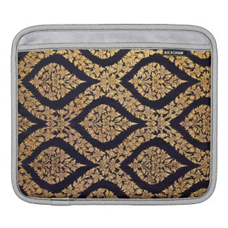Black Gold Damask Traditional Contemporary Print Sleeve For iPads