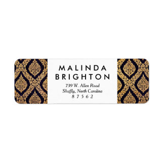 Black & Gold Damask Traditional Contemporary Print Return Address Label