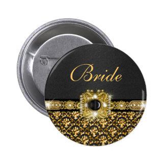 Black gold damask wedding bride 6 cm round badge