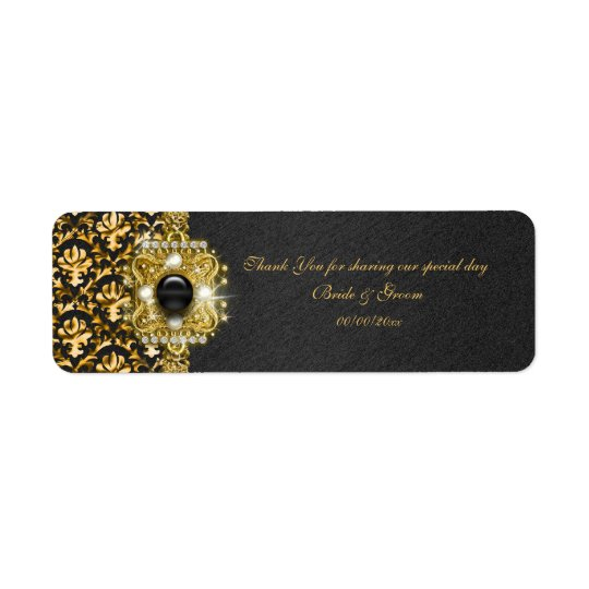 "Black gold damask wedding ""thank you"" return address label"