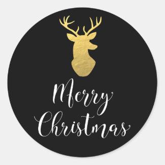 Black & Gold Deer Merry Christmas Sticker