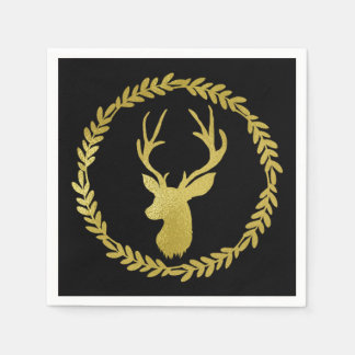 Black Gold Deer Wreath Christmas Napkin Paper Serviettes