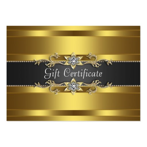 Black Gold Diamond Gold Business Gift Certficate Business Card Template