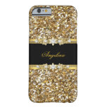 Black Gold Diamond Jewel Glitter Barely There iPhone 6 Case