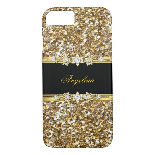 Black Gold Diamond Jewel Glitter iPhone 8/7 Case