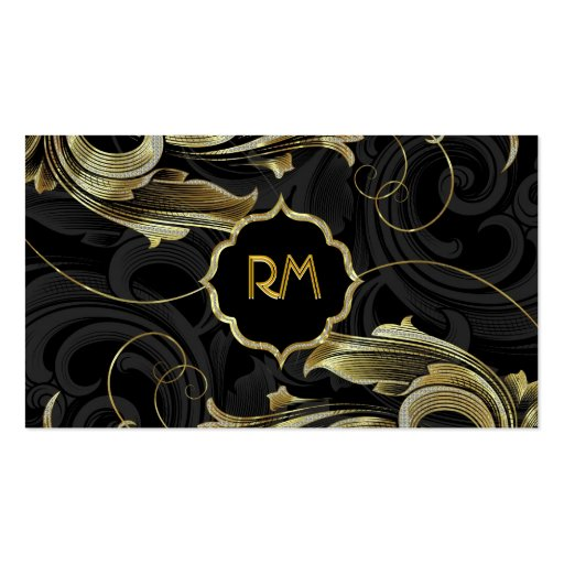 Black Gold & Diamonds Pattern-Elegant Floral Swirl Business Card