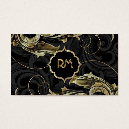 Black Gold & Diamonds Pattern-Elegant Floral Swirl Business