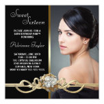 Black Gold Diamonds Photo Sweet Sixteen Birthday 13 Cm X 13 Cm Square Invitation Card