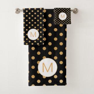 Black Gold Dot Monogram set, U can change color Bath Towel Set