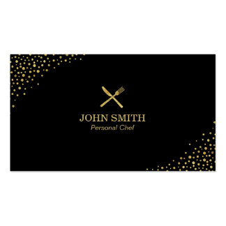 Black & Gold Dots Personal Chef Catering Pack Of Standard Business Cards