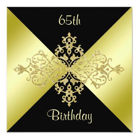 Black Gold Elegance 65th Birthday Invitation