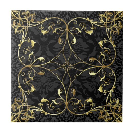 Black & Gold Elegant Floral Damask Pattern 2