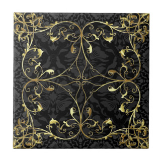 Black & Gold Elegant Floral Damask  Pattern 2 Tile